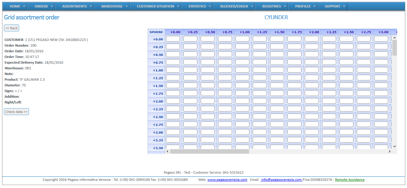 Screenshot of the grid software for the management of optical retail chains